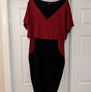 Red & Black mesh caplet dress